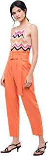 MOON RIVER 女士纯色纸袋腰带高腰裤