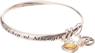 Jewelry Nexus 诞生石和个性 Traits 银色扭曲手镯吊坠手链