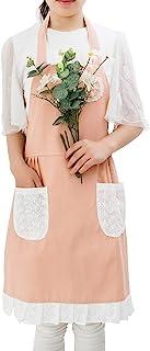 女士女孩可爱棉亚麻领围裙厨师厨房花园蕾丝防水防油罩衣口袋