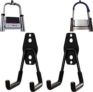 2 件折叠阶梯凳壁挂挂钩,伸缩壁挂式梯子挂钩,家用工程梯挂钩,伸缩梯子挂钩,适用于车库和棚架展示和储物梯工具(U 型)