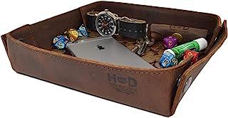 Hide & Drink, 皮革捕手托盘,方便拿取钥匙、硬币、零钱、珠宝、手表、智能手机,耐用,复古风格,手工制作