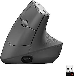 Logitech 罗技 MX 人体工程学无线垂直鼠标,多设备,蓝牙或 2.4GHz 无线,带 USB 通用接收器,4000 DPI 光学跟踪,4 个按钮,快速充电,笔记本电脑/PC/Mac/iPad OS- 黑色