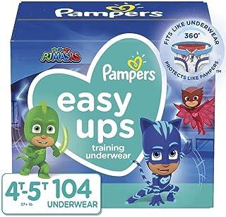 Pampers Easy Ups 训练裤拉式一次性纸尿裤男孩尺码 4 (2T-3T),164 支装,一年供应 Size 6, 37+ lb (4T-5T), 104 Count 6 104
