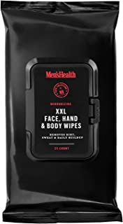 男士*身体和面部湿巾 - XL 男士面部、手*身体湿巾、旅行湿巾和运动后擦拭巾,可快速清理灰尘、汗水和油 - 可重新密封翻转顶包