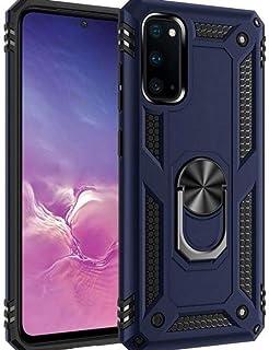 KIKO 无线三星 Galaxy S20 Ultra (6.2 英寸)重型坚固防震支架手机壳,带金属板坚固的可旋转环形握把外壳(*蓝)
