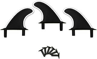Rokia R 软顶冲浪板脚蹼泡沫冲浪板配件   3 个脚蹼 + 配件   螺栓 黑白色和白色脚蹼 适用于泡沫冲浪板