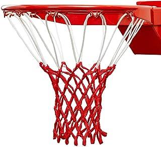 LAO XUE 标准篮球网重型加厚防鞭子替换网,全天候官方专业篮球网,适合室内户外球场边缘-12圈,红白