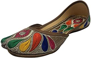 Step n Style 多彩 Punjabi Jutti 女式民族鞋串珠鞋平底 Mojari 印度鞋