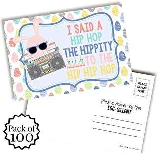 AmandaCreation 趣味嘻哈兔子主题复活节快乐空白明信片发送给朋友和家人,10.16 厘米 x 15.24 厘米填写记事簿 (100)