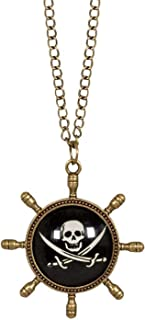 Boland 74148 - 海盗项链,时尚首饰,带吊坠,适合成人,方向盘,骷髅,珠宝,海盗,自由袋,狂欢节,狂欢节,万圣节,主题派对
