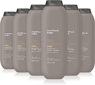 Method Men 2合1洗发露+护发素,杜松+鼠尾草,6件装 Cedar & Cypress