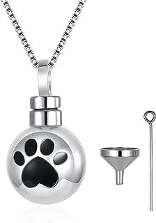 ZOEXUE 爪印犬灰烬项链:925 纯银狗猫浮雕珠宝灰烬首饰纪念品猫缸吊坠项链礼物送给女士儿童男士