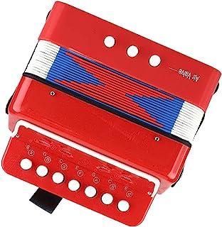 儿童手风琴乐器,*耐用 7 键 2 低音儿童手风琴,儿童手风琴,适合幼儿手,儿童玩具(红色)