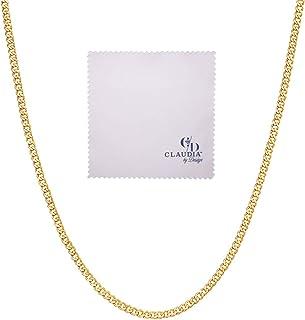 14K 黄金古巴锁链项链,男女皆宜,2.2 毫米意大利 14k 金项链,男女适用,14 克拉古巴锁链带龙虾扣,含抛光布和礼品盒