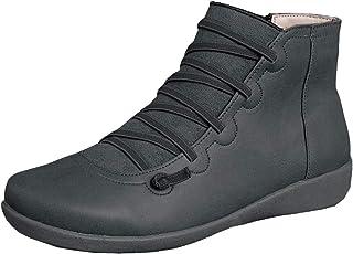 KINOW 足弓支撑靴女式皮革及踝靴高帮坡跟短靴减震鞋