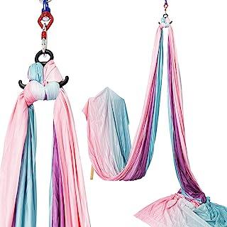 瑜伽健身包,11 码 9.2 米空气瑜伽秋千套装。瑜伽吊床套装 - 防重力天花板悬挂瑜伽吊带 - 钩和环状,渐变。生日,女士礼物,*佳*礼物。