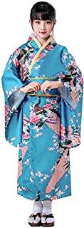日本和服儿童连衣裙传统孔雀花长浴衣Haori 服装艺伎女孩花式连衣裙