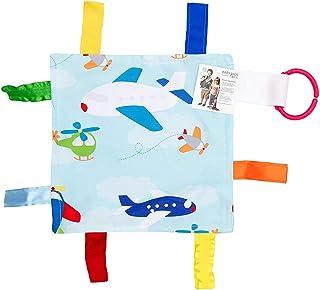 Lovey 咀嚼毯子褶皱玩具标签方形 Sensory Baby Jack 出品 飞机 8x8