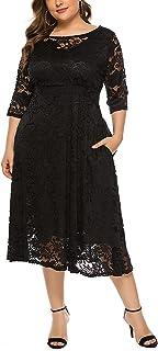 Tempotrek 女式加大码蕾丝连衣裙七分袖优雅连衣裙带口袋