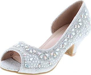 时尚水钻儿童闪光露趾一脚蹬女鞋 3.81 厘米小猫高跟凉鞋青少年礼服鞋