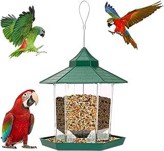 Jhua 可爱鸟类喂食器户外塑料野外悬挂鸟类喂食器六角形屋顶大型喂食器花园庭院公园后院庭院装饰(*)