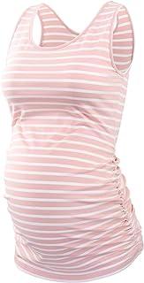 Ecavus 女式孕妇背心基本低圆领无袖孕妇 T 恤侧褶背心, 粉色白色条纹, X大码