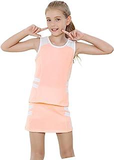 女孩高尔夫套装和服装网球背心裙连衣裙带内置短裤