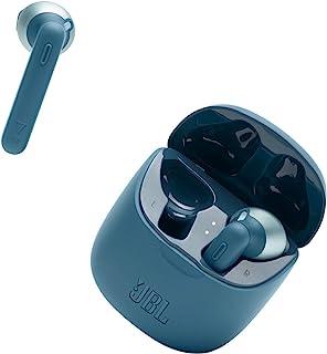 JBL Tune 225 TWS 入耳式耳机 – 真正的无线耳机带充电盒,电池续航时间长达 25 小时,带充电盒,感受音乐 JBL Pure Bass 声音,蓝色