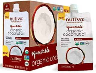 Nutiva Squeezable USDA Organic Virgin Coconut Oil, 12 oz. Pouch (Pack of 4)
