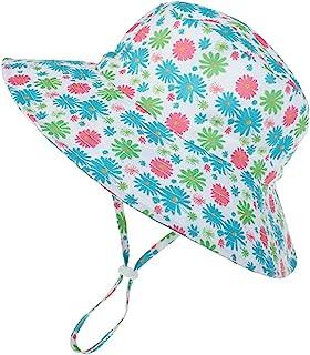 婴儿太阳帽幼儿夏季沙滩帽 UPF 50+ 女婴渔夫帽适合男宝宝可调节婴儿遮阳帽