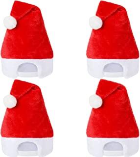 4 件套可调节圣诞老人帽后扣圣诞帽中性款红色毛绒圣诞老人帽加厚柔软假日帽适合女士男士圣诞派对用品