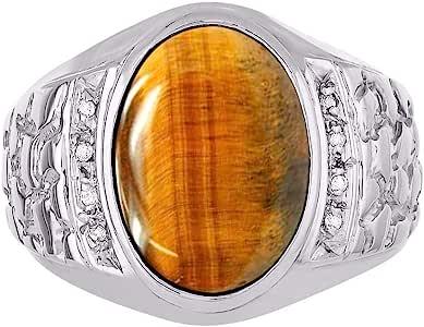 RYLOS 椭圆形凸面宝石和纯正闪亮钻石纯银925