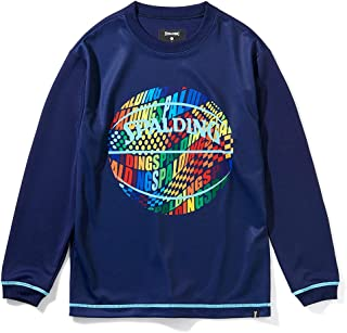 SPALDING 斯伯丁 篮球 青少年长袖T恤 光学彩虹 藏青色 130厘米 篮球