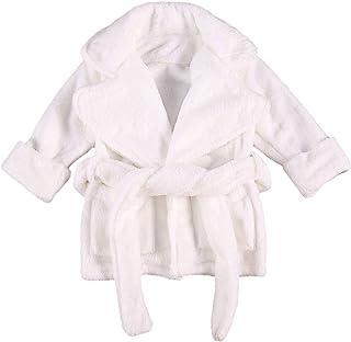 中性款婴儿毛绒浴袍纯色和服睡袍新生儿幼儿女孩男孩毛巾睡袍睡衣
