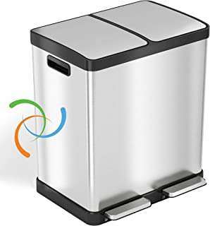 iTouchless SoftStep 16 加仑(约 30 升)阶梯垃圾桶和回收箱,带双重气味控制系统,不锈钢,2 x 8 加仑(约 30 升)可拆卸彩色编码桶,软闭合和密封。