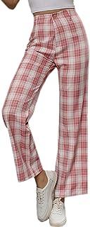 WDIRARA 女式格子高腰纽扣休闲长裤直筒裤