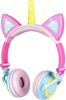 esonstyle 独角兽儿童耳机,带 LED 发光猫耳朵,*有线儿童耳机 85dB 音量限制,食品级硅胶,3.5 毫米 Aux Jack。猫灵感女孩耳机