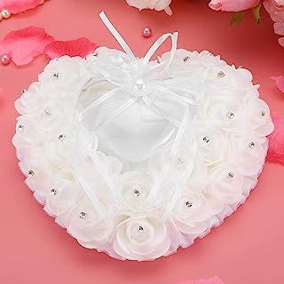 Sorand 轻质戒指轴承枕头,婚礼戒指枕头,仪式用品,婚礼派对婚礼用品礼物(白色)