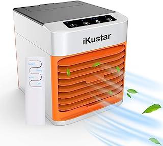 iKustar 便携式空调 – 小型室内蒸发空气冷却器和加湿器风扇 – 迷你立式房间地板交流单位 7 色 LED 灯,触摸按钮和 3 档速度级别,适用于家庭、办公室