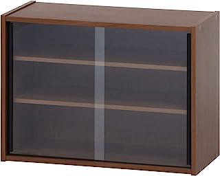 不二贸易 餐具架 小巧 宽60厘米 中棕色 玻璃门 可动搁板 99435 【】