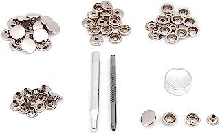 TOPINCN 皮革按扣套装,金属按扣按扣紧固件带固定工具,金属按扣纽扣,用于皮衣夹克修理(银色)