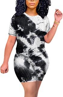 GLIENST 女式 2 件套套装扎染露肩系结衬衫紧身短裤运动服套装