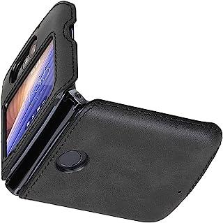 Cresee 兼容摩托罗拉 Razr 5G (Razr 2nd Gen) 2020 手机壳,PU 皮革后盖+硬 PC 保护壳薄款手机壳,适用于 Moto Razr 5G 黑色