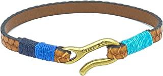 Caputo & Co. 男式高级真皮压花编织手链 - 棕褐色