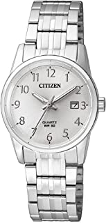 CITIZEN 西铁城 女士指针式石英手表 不锈钢表链 EU6000-57B