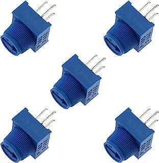 E-outstanding 5 件带旋钮的修剪器电位器,3386MP-103 3 端子引脚蓝色可变电阻器 0-10K 欧姆