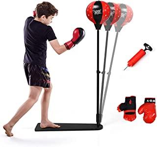 儿童拳击袋套装可调节支架(63.5~88.9 厘米)包括儿童拳击手套和拳击袋儿童拳击套装,适合 3~8 岁男孩和女孩拳击手套套装