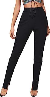 SOLY HUX 女式弹性高腰开叉下摆紧身裤罗纹针织长裤