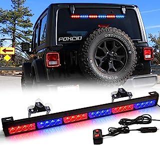 FOXCID 24 LED 红色蓝色 红色 27 英寸 13 种模式紧急警告交通顾问车辆 LED 闪光灯条带大吸盘和点烟器