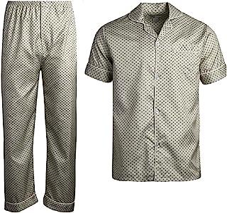 Apparel Closeout 男式棉质条纹格子短袖长裤睡衣套装 - 米色方形-M